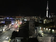 Auckland downtown skyline at night Stock Photo