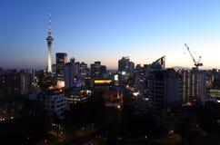 Auckland financial center skyline at dusk light Royalty Free Stock Photo