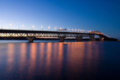 Auckland Harbor Bridge. At night, taken from Westhaven marina Stock Image