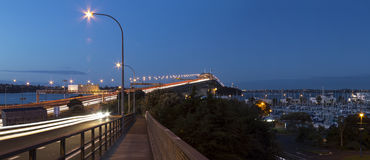 Auckland harbor bridge at night. Shot from the city side looking towards the northshore over westhaven marina- the shelly beach off ramp Stock Photo