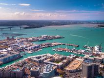 Auckland harbour aerial view royalty free stock photography