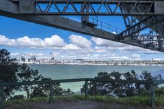 Auckland, Harbour Bridge with Skyline in New Zealand Royalty Free Stock Photos