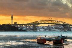 Low Tidy Auckland. Auckland Harbour at low tidy with a sunrise sky stock image