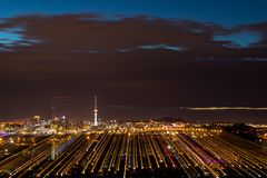 Auckland Light Trails. The wonderful city of Auckland a night with the sky tower lights Stock Photo