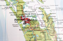 Auckland on map. Close up shot of Auckland on map Royalty Free Stock Photos