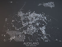 Auckland map, satellite view, New Zealand Royalty Free Stock Photography