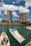 Auckland marina with Silo park Stock Photo