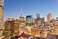 Auckland miasta NZ iluminująca architektura przy nocą Obrazy Stock