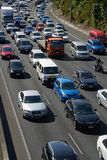 Auckland motorways. AUCKLAND, NEW ZEALAND, JANUARY 19, 2015: Congested outgoing traffic in the afternoon rushhour on an Auckland motorway, Northland, New Zealand Stock Images