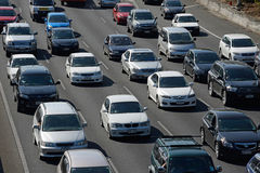 Auckland motorways. AUCKLAND, NEW ZEALAND, JANUARY 19, 2015: Congested outgoing traffic in the afternoon rushhour on an Auckland motorway, Northland, New Zealand Royalty Free Stock Images
