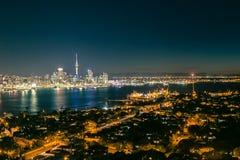 Auckland natt-scape Royaltyfri Bild