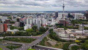 Auckland New Zealand, Aerial Time Lapse Of CBD 4k. Auckland, New Zealand aerial view of the city, cbd and highways leading out of the city stock video footage