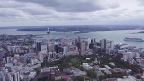 Auckland CBD Aerial Panorama 4k. Auckland, New Zealand aerial view of the city, cbd and highways leading out of the city stock video