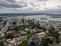 Auckland, New Zealand Aerial. View of the city, cbd and highways leading out of the city Royalty Free Stock Image