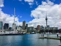 Auckland harbor and skyline royalty free stock photo