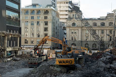AUCKLAND, NEW ZEALAND - AUGUST 16, 2016 The demolition of the 1970's Downtown Shopping Centre has begun in Auckland CBD. Stock Photography