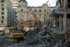 AUCKLAND, NEW ZEALAND - AUGUST 16, 2016 The demolition of the 1970's Downtown Shopping Centre has begun in Auckland CBD. Royalty Free Stock Image