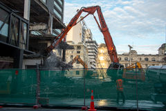 AUCKLAND, NEW ZEALAND - AUGUST 16, 2016 The demolition of the 1970's Downtown Shopping Centre has begun in Auckland CBD. Royalty Free Stock Images