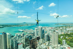 Auckland, New Zealand- December 12, 2013. Bungee Jumping Man Fro Royalty Free Stock Image