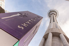 Auckland, New Zealand- December 12, 2013. Auckland sky tower fam Stock Images