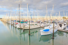 Auckland, New Zealand- December 9, 2013. Yacht tied at the Westh Royalty Free Stock Photography