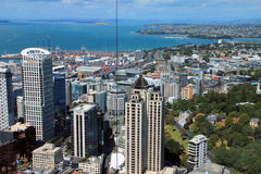 Auckland, New Zealand - January 28, 2013: view from above through the windows at the Sky Tower business center and port Stock Photography