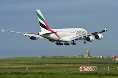 Emirates A380 super jumbo landing at Auckland International Airport Royalty Free Stock Photography