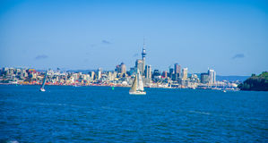 AUCKLAND, NEW ZEALAND- MAY 12, 2017: Beautiful view of the largest and most populous urban area in the country, with Royalty Free Stock Photography