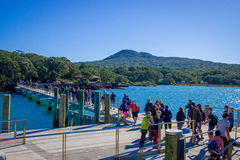 AUCKLAND, NEW ZEALAND- MAY 12, 2017: Unidentified crowd of people over a wharf at Rangitoto Island, Hauraki Gulf, New Stock Image
