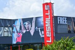 AUCKLAND, NEW ZEALAND - Nov 05, 2020: Les Mills fitness centre gym in Meadowlands