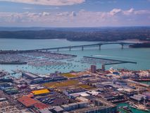Aerial view of Auckland industrial harbor stock photography