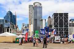Auckland, New Zealand`s central business district from Captain Cook wharf royalty free stock image