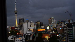 Auckland New Zealand skyline on stormy evening stock video footage