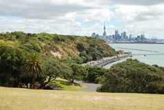Auckland, New Zealand. View of Auckland skyline and MJ Savage Memorial Park, New Zealand Royalty Free Stock Photo