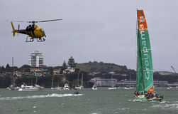 Auckland News Helicopter - Groupama Boat Royalty Free Stock Photography