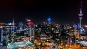 Auckland at night seen from the drone. And sky tower royalty free stock photo