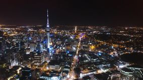 Auckland at night seen from the drone and sky tower. Auckland at night seen from the drone stock image