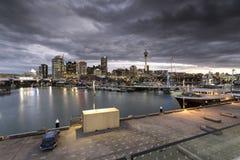 Luces de la ciudad de Auckland Foto de archivo