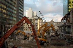 AUCKLAND, NUOVA ZELANDA - 16 agosto 2016 la demolizione del centro commerciale del centro degli anni 70 ha cominciato a Auckland  fotografia stock