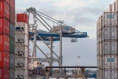 AUCKLAND, NUOVA ZELANDA - 2 APRILE 2012: Gru e pila di contenitori al porto di Auckland fotografie stock