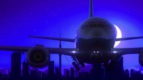 Auckland Nuova Zelanda decolla il viaggio blu dell'orizzonte di notte della luna video d archivio
