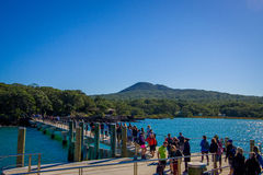 AUCKLAND NYA SJÄLLAND MAY 12, 2017: Oidentifierad folkmassa av folk över en hamnplats på den Rangitoto ön, Hauraki golf som är ny Royaltyfri Foto