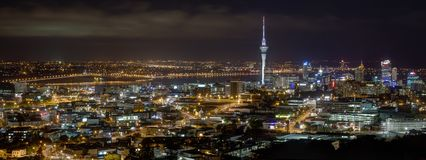 HDR panorama of Auckland city, New Zealand, at night stock image