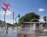 AUCKLAND NZ,FEB 4: Potters Park Auckland New Zealand Feb 4 2017. AUCKLAND NZ, FEB 4: Young Children Playing at Potters Park in Auckland New Zealand Feb 4 2017 royalty free stock photos