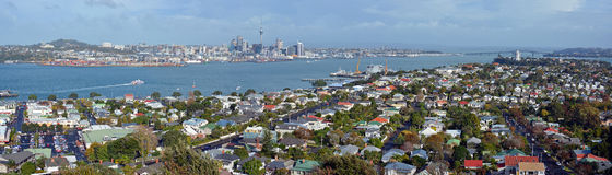 Auckland Panorama from Mount Victoria, Devonport towards City & royalty free stock photo