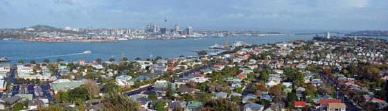 Auckland Panorama from Mount Victoria, Devonport towards City & Royalty Free Stock Photography