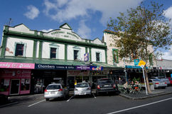 Auckland - Ponsonby. AUCKLAND, NZ - MAY 27:Old buildings Ponsonby road on May 30 2013.It's known for its vibrant restaurants, cafes, art galleries, up-market Stock Photo