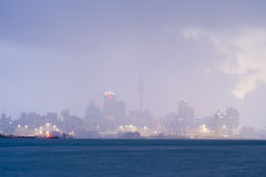 Auckland in a raincloud, New Zealand Royalty Free Stock Images