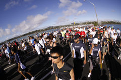 Auckland round the bays fun run. Participants of Auckland Round the Bays,one of the world's largest fun-runs with an estimated 70,000 entrants, in Auckland, New Stock Image