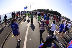 Auckland Run Walk Round the Bays. Participants of Auckland Round the Bays, one of the world's largest fun walk and run with an estimated 70,000 entrants, in Stock Photo